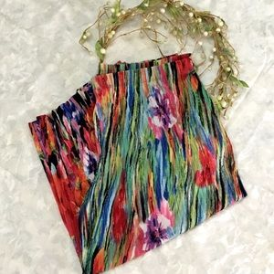 3/$15 SUSAN GRAVER Printed Pleated Crop Pants XL